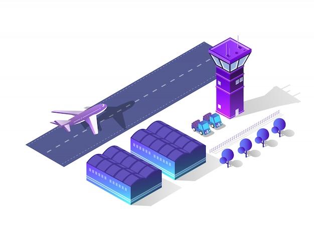 Toekomstige 3d isometrische luchthaven