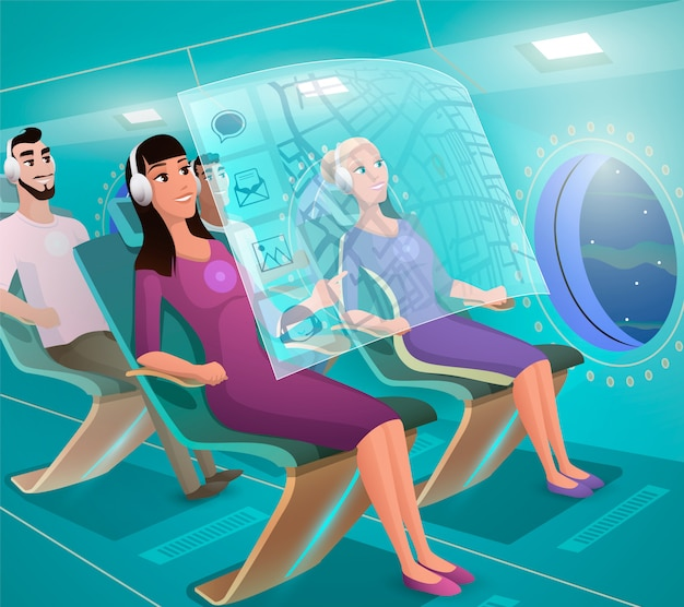 Toekomstige airline clients in futuristic plane vector