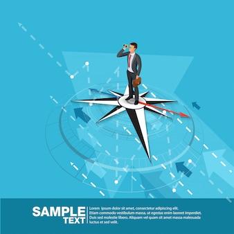 Toekomstige business leader concept finance manager business man op kompas. flat isometric people executive manager vector investor trader zakelijke toekomstvisie individueel succes