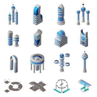 Toekomstige city isometric icons set