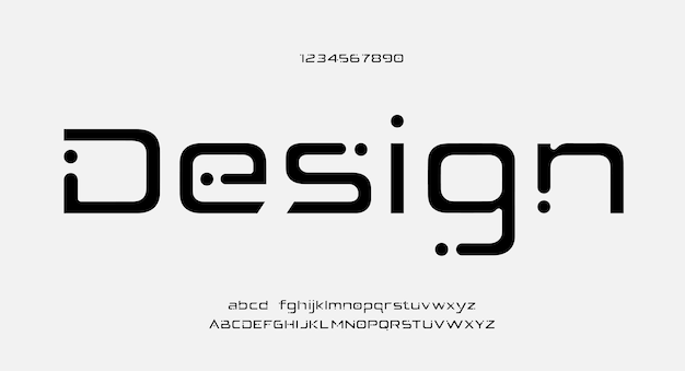 Toekomstige creatieve moderne alfabetlettertypen