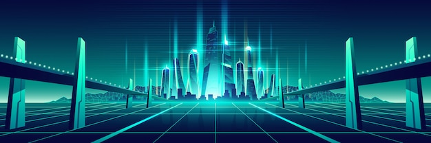 Toekomstige digitale wereld virtuele metropolis vector