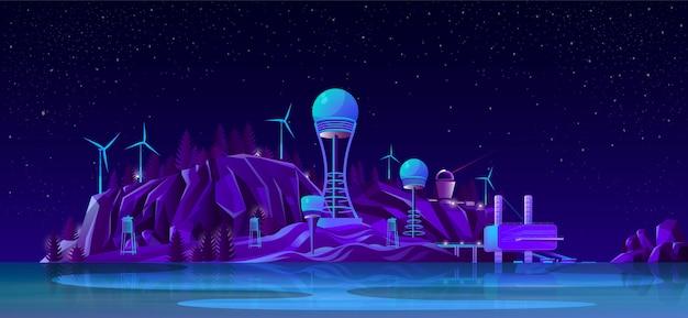 Toekomstige elektrische centrales cartoon concept