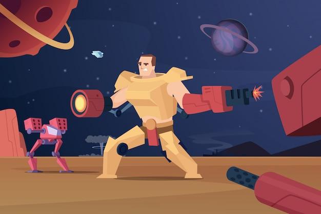 Toekomstige gevechtsrobots. cyber oorlog futuristische soldaten op mars vector tekens cartoon achtergrond