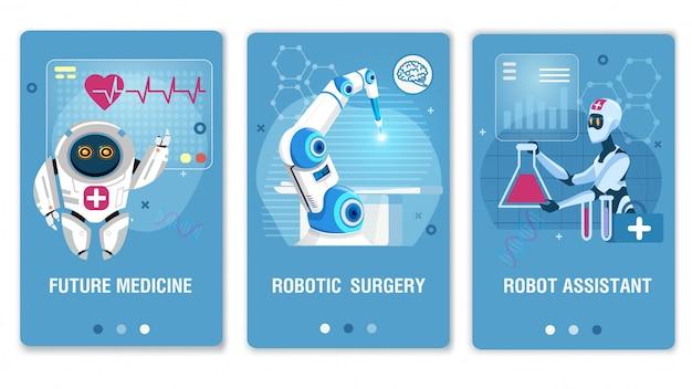 Toekomstige gezondheidszorg technologie mobiele webpagina-set