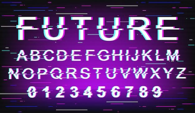 Toekomstige glitch-lettertypesjabloon