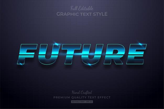 Toekomstige gloed blauw bewerkbare teksteffect lettertypestijl