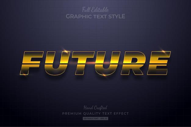 Toekomstige gloed geel bewerkbare teksteffect lettertypestijl