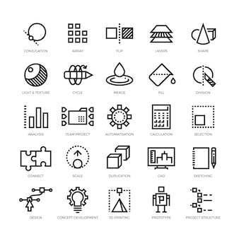 Toekomstige innovatie icon set