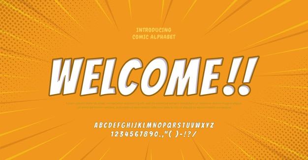 Toekomstige komische alfabet lettertype typografie stedelijke stijl