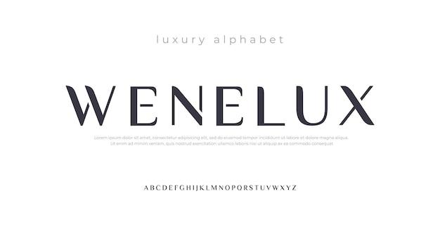 Toekomstige luxe alfabet lettertype typografie stedelijke stijl
