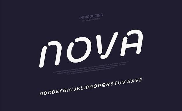 Toekomstige minimale alfabet lettertype typografie stedelijke stijl