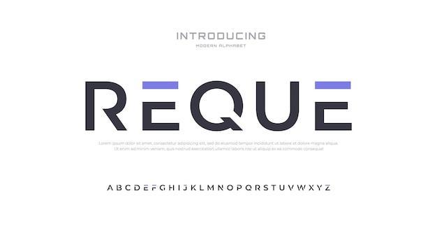 Toekomstige moderne alfabet lettertype typografie stedelijke stijl