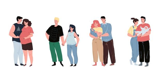 Toekomstige ouders met zwangere moeder en jong gezin die met liefde naar pasgeboren baby kijken