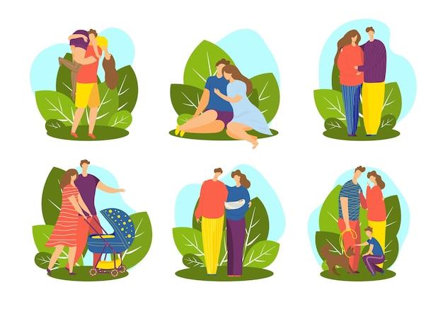 Toekomstige ouders zwangerschap gezin met kind set vector illustratie man vrouw karakter paar datum samen...