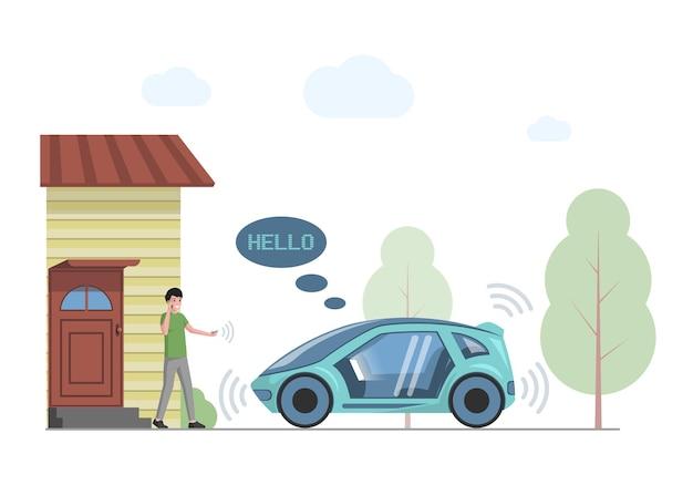 Toekomstige persoonlijke vervoer vector vlakke afbeelding glimlachende man praten phone
