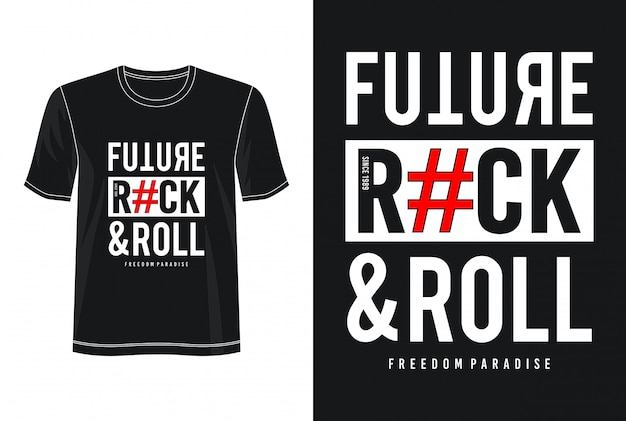 Toekomstige rock and roll typografie voor print t-shirt