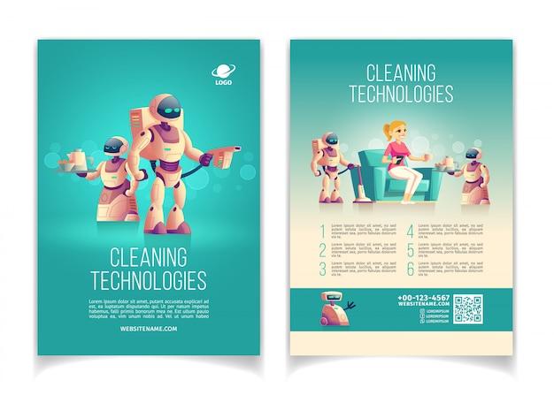 Toekomstige schoonmaaktechnieken opstarten cartoon
