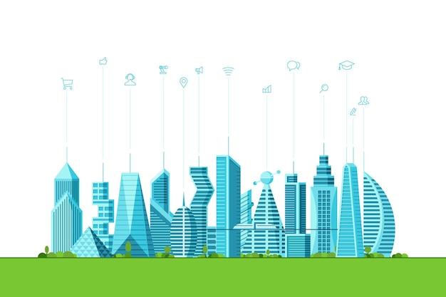 Toekomstige slimme stad technologie concept. stedelijke stadsgezicht hedendaagse wolkenkrabber gebouwen met infographic sociale media internet communicatie netwerk pictogrammen. futuristische architectuur vectorillustratie