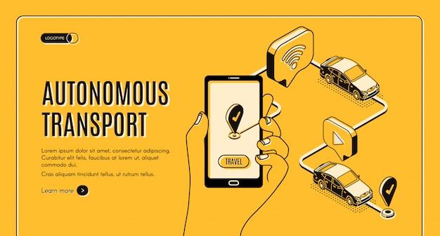 Toekomstige slimme technologie, smartphone met applicatie voor zelfrijdende auto op scherm