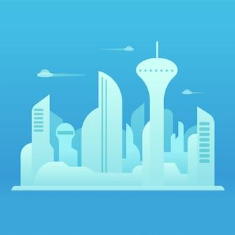Toekomstige stad illustratie