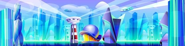Toekomstige stad met futuristische glazen gebouwen met ongewone vormen. cartoon buitenaardse stedelijke stadsgezicht. moderne architectuurtorens, wolkenkrabbers. metropoollandschap met vliegende stadsdelen en ruimteschip.