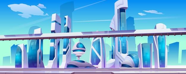 Toekomstige stadsstraat met futuristische glazen gebouwen met ongewone vormen,