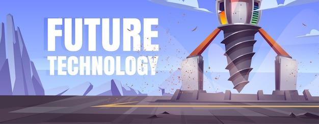 Toekomstige technologie cartoon banner met futuristische booreiland, boorschip voor exploratie en mijnbouw.