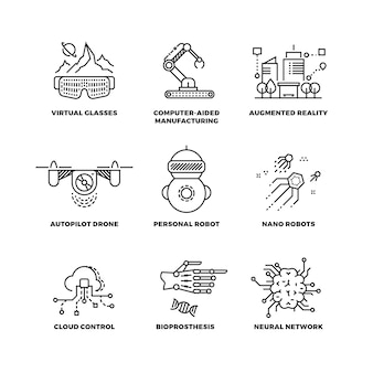 Toekomstige technologie en robot kunstmatige intelligentie overzicht pictogrammen
