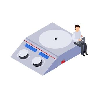 Toekomstige technologie icoon met laboratoriumapparatuur en menselijk karakter op het werk 3d isometrisch
