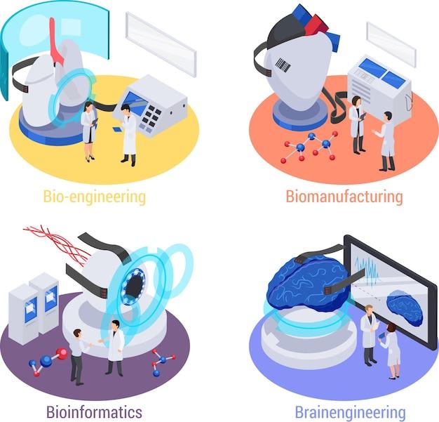 Toekomstige technologie met lab-apparaten isometrische set van geïsoleerde illustratie
