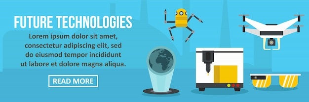 Toekomstige technologieën banner horizontaal concept
