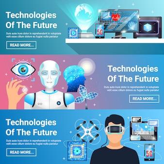 Toekomstige technologieën banners set