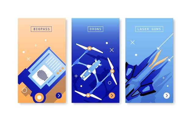 Toekomstige technologieën drie posters met bio-pas drones laserkanonnen egale kleurcomposities geïsoleerd