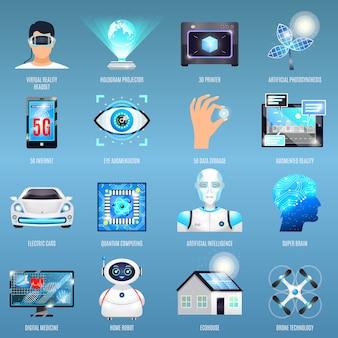 Toekomstige technologieën pictogrammen