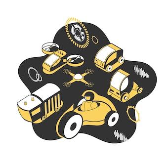 Toekomstige technologische ontwikkeling met elektrische voertuigen