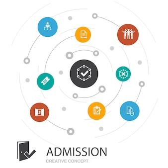 Toelating gekleurde cirkel concept met eenvoudige pictogrammen. bevat elementen als. ticket, geaccepteerd, open inschrijving, aanmelding