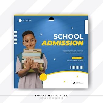 Toelating tot school of terug naar school voor postsjabloon voor sociale media