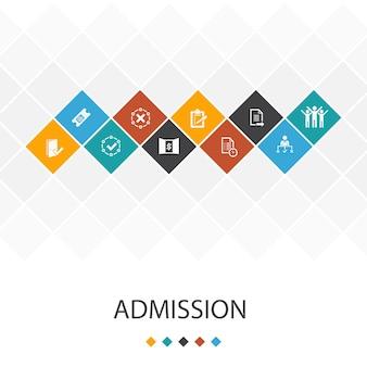Toelating trendy ui sjabloon infographics concept. ticket, geaccepteerd, open inschrijving, applicatiepictogrammen