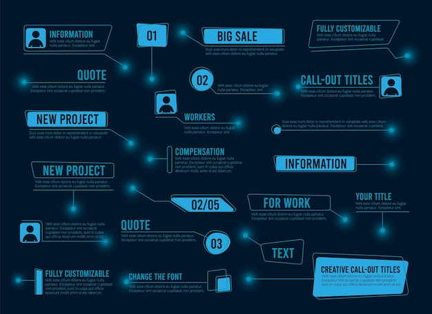 Toelichting dozen. abstracte tekst digitale frames. futuristische technologie hud ui ux elementen vector collectie. illustratie digitale data frame, hologram futuristische interface