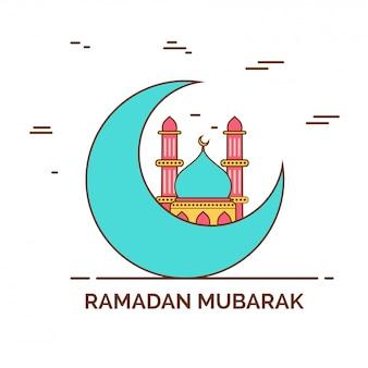Toenemende maan met moskee