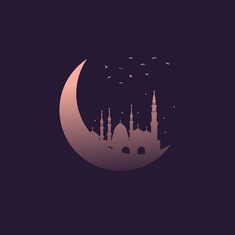 Toenemende maanillustratie met moskee en vogels