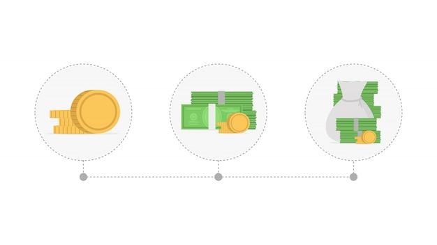 Toenemende stapels munten en geld. concept van de financiële groei.