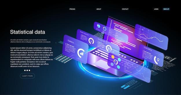 Toepassing van laptop met bedrijfsgrafiek en analysegegevens op isometrische laptop analysetrends en financiële strategie met behulp van infographic grafiek. digitale geldmarkt, investeringsfinanciering en handel