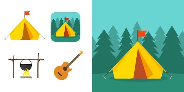 Toerisme avontuur icoon concept of zomer recreatie kamp elementen met bos natuur reis scene