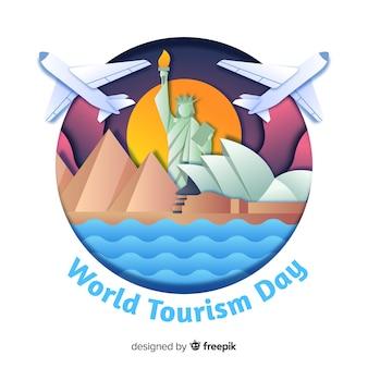 Toerisme dag concept met bezienswaardigheden