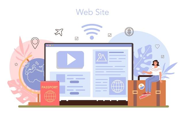 Toerisme deskundige online service of platform. maken en verkopen door agenten