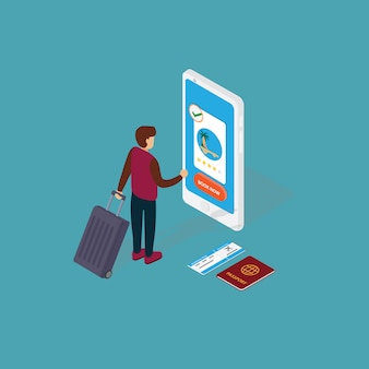 Toerisme en boeking app-concept. mensen die online vakantiekaartje op smartphone boeken
