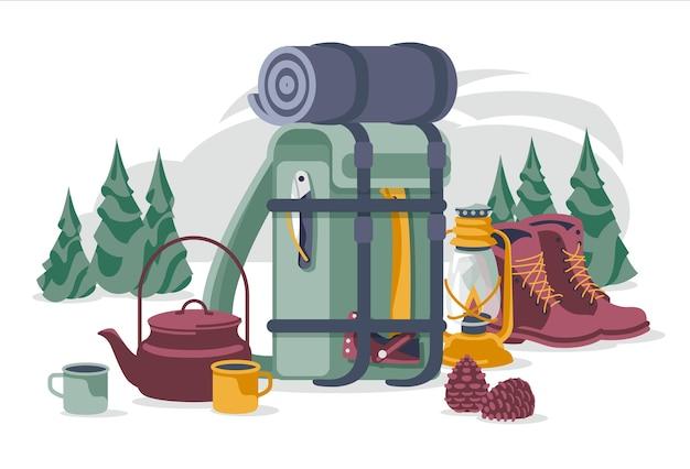 Toerisme en kamperen objecten set geïsoleerd op wit