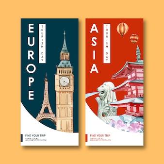 Toerisme flyer ontwerp met eifel, clock tower, merlion, chureito pagode.